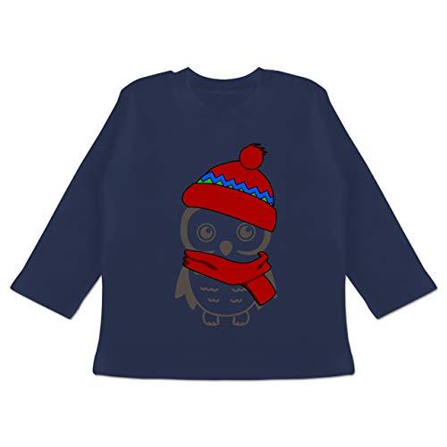 Tiermotive Baby - Winter Eule Schal Mütze - 6/12 Monate - Navy Blau - Geschenk - BZ11 - Baby T-Shirt Langarm