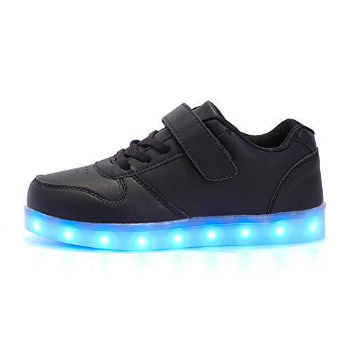Rojeam Unisex Kinder LED Leuchtet Schuhe Sportschuhe USB Lade Outdoor Leuchtend Leichtathletik Beiläufige Paare Schuhe Sneaker, Schwarz, 37 EU
