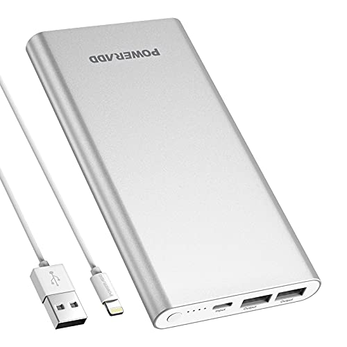 Pilot 4GS Portable Charger,12000mAh Fast Charging Power Bank Dual 3A High-Speed Output External Battery Pack Compatible with iPhone 12 11 X Samsung S10 and More - Silver