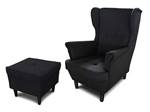 Ohrensessel Sessel King - Lounge Sessel mit Armlehnen - Retro Stuhl aus Stoff mit Holz Füßen - Polsterstuhl für Esszimmer & Wohnzimmer (Schwarz (Inari 100), mit Hocker)