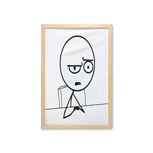 Ambesonne Humor Wall Art with Frame, So What Guy Meme Face Best Avatar WTF Hipster Mascot Snobby Sign Picture, Printed Fabric Poster for Bathroom Living Room Dorms, 23' x 35', Black and White