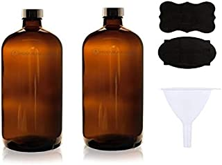 2 Pack ~ 32oz Growler ~ Amber Glass with PolyCone Phenolic Lid for a Tight Seal -PLUS 2 chaulkboard labels and a FUNNEL, P...