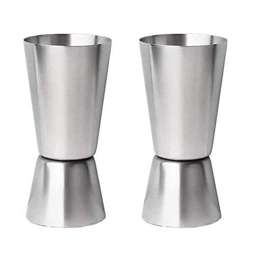 Winice Cocktail Messbecher, 2 Stück Edelstahl Messbecher Klein mit Dual Maßnahme Cup: 25/50 ml für Bar Wein Cocktail Shaker Zubehör