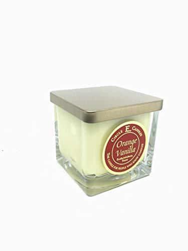Circle E Orange Vanilla Scented Jar Candle | Size 8oz | 40 Hour Burn Time | 1 Wick | Wax Color Orange | Glass Jar | Made in USA