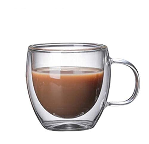 TFJJSQA Especial/Simple Taza de café de la Copa de Cristal de la Pared de Doble Pared Taza de Bebida Resistente al Calor Tazas de té Tazas Transparentes (Color : B 150ml)