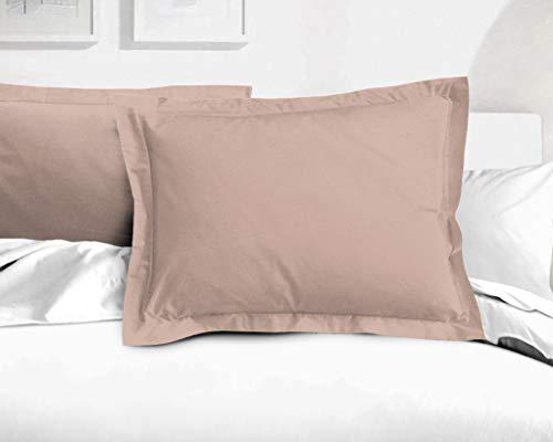 Home Linge Passion - Juego de 2 Fundas de Almohada (50 x 70 cm), Color Rosa con Polvo