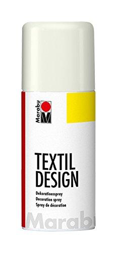 Marabu 17240006070 - Textil Design weiß, Dekorationsspray auf Acrylbasis, 150 ml, schnell trocknend, wetterfest, lichtecht, bedingt waschbeständig, zum kreativen Gestalten auf Stoff