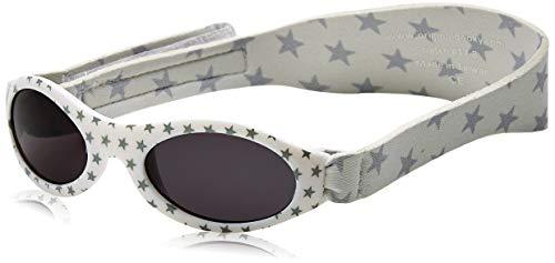 Xplorys Original Dooky Baby Banz Silver Star Baby Sonnenbrille für Mädchen und Jungen, 0 - 2 Jahre, UV-A & UV-B Schutz, bruchsicheres Glas mit Neoprenband, weiss