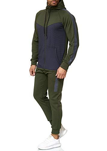 OneRedox Herren Jogginganzug Sportanzug Trainingsanzug Sweatshirt Hose Jogging Anzug Modell 1053 Grün XXL