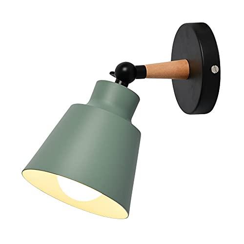 Apliques de Pared Modernos Rústico,YABAG Lámpara Pared de Hierro Industrial Vintage, Luz de Interior para Pasillo Sala Habitacion Loft Comedor (Verde)