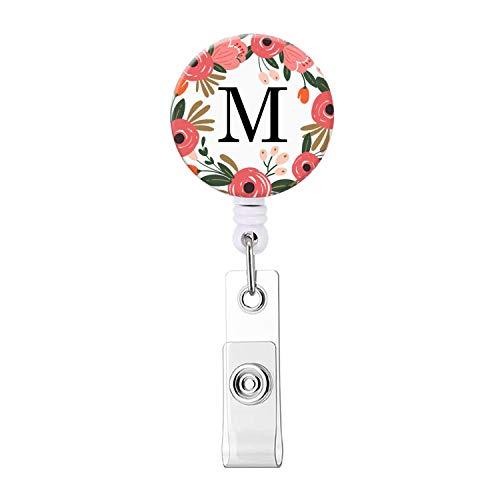 Badge Reel, Retractable ID Card Badge Holder with Alligator Clip, Name Nurse Decorative Badge Reel Clip on Card Holders (Floral Wreath Letter M)