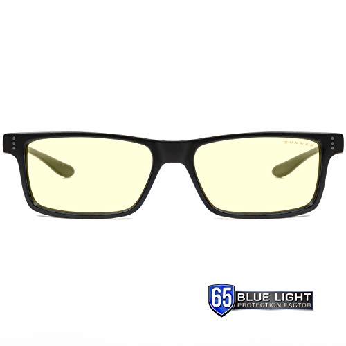 Gunnar Gafas para Videojuegos y Ordenador | Cruz, Montura: Onyx, Lentes: Ámbar | con filtro de Luz Azul | Lente Patentada con protección 65% de Luz Azul y 100% de UV Para Reducir la Fatiga Ocular