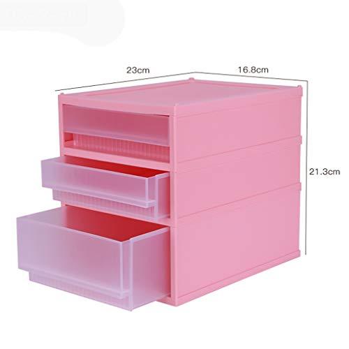 Boîte de Rangement cosmétique de tiroir Multicouche en Plastique Simplicité Bureau Rouge à lèvres Bijoux Produits de Soin de la Peau Boîte de Stockage Affichage FANJIANI (Size : 23 * 16.8 * 21.3cm)