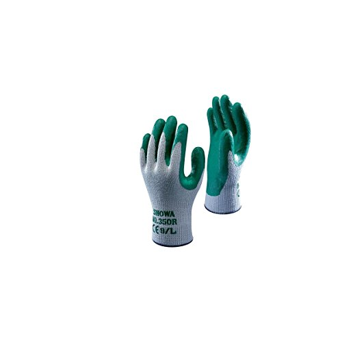 SHOWA 350R, Enduction de Nitrile, Grip polyvalent, Gris/vert, 9/L