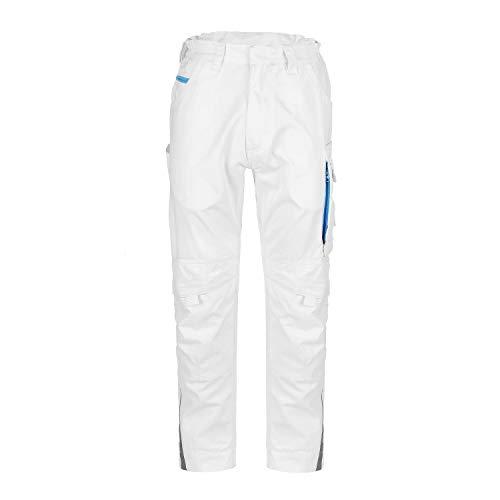 TMG® Elegance Lange Arbeitshose für Herren, Bundhose/Cargohose mit Kniepolstertaschen, Weiß 50
