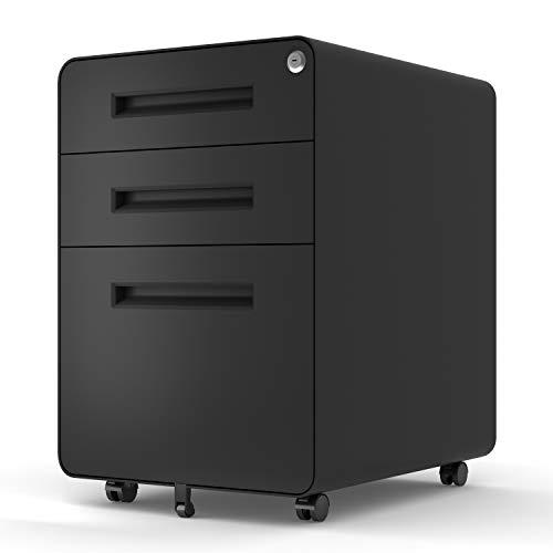 File Cabinet Mobile, Merax 3 Drawer Metal Pedestal Filing Cabinets with 2 Lock Keys, 5 Rolling Casters, Fully Assembled Storage for Home Office Modern Vertical Hanging Folders A4 Letter Size (Black)