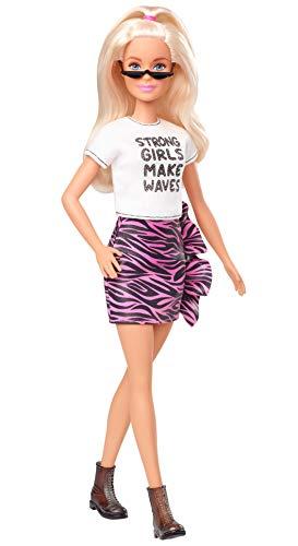 Barbie GHW62 - Barbie Fashionistas Puppe 148 (blond) mit pinkem Rock im Tigermuster