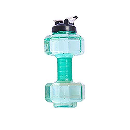 1 unidad de gran capacidad Fitness botella de agua Mancuernas forma 2200ML verde
