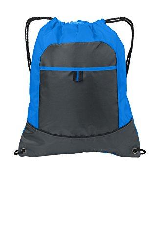 Port Authority® Pocket Cinch Pack. BG611 Brilliant Blue/ Deep Smoke OSFA