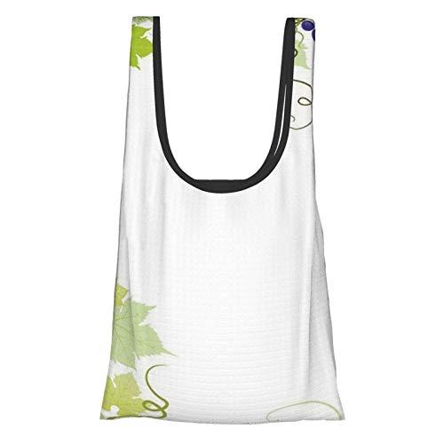 VimcustomPr Uvas decoración del hogar viñedo marco con remolino racimo fresco planta jardín exuberante diseño púrpura verde reutilizable plegable bolsas de compras ecológicas