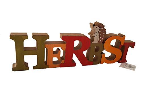 LB H&F Schriftzug Herbst zum hinstellen Holz Natur Igel 33 cm Gross Herbstdeko (Mehrfarbig)