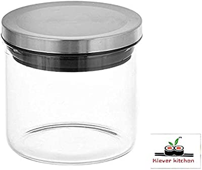 klever kitchen Boroxx Glass Jar with Stainless Steel Lid, 500ml, 1-Piece, Clear