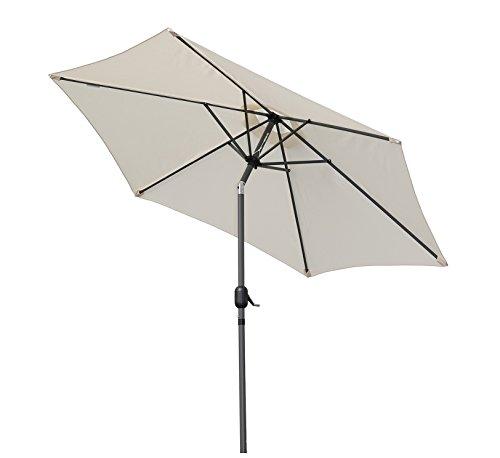 Angel Living 250cm Parasol de Jardín Sombrilla de Aluminio con Mecanismo de Inclinación Sombrilla con Mástil de Aluminio de 38mm para Jardín Patio Playa (beige claro)