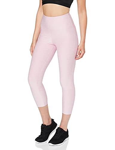Marca Amazon - AURIQUE Mallas de Deporte Capri de Tiro Alto Mujer, Rosa (Mauve Mist Marl), 42, Label:L