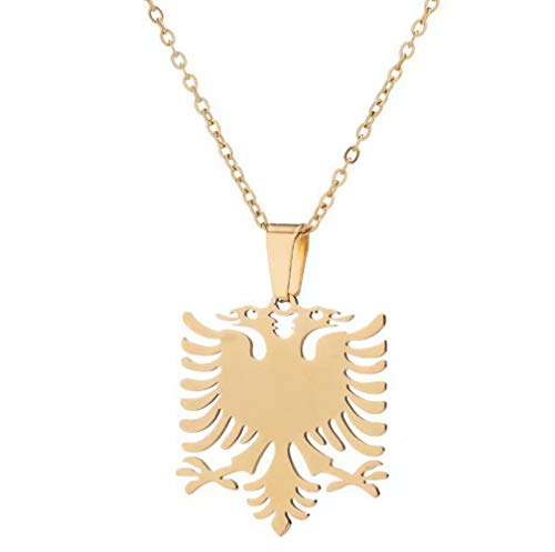 Albanian Eagle Pendant Necklaces Animals Pendant Women Necklaces Girls Birthday Gift for Girlfriend Jewelry Stainless Steel Necklace