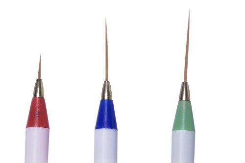 VAGA 3 Nail Art brushes inc Sable Brush Pen, Detailer, Liner and Striper