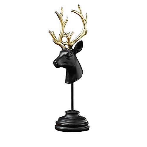 DFNPL Ciervo Cabeza Estatua,Ciervo Esculturas Abstracto Animal Cabeza Statues Creativo Negro Ciervo Cabeza Artesanía Decoración Vino Gabinete Decoración-Cabeza de Ciervo Negro 12 * 10 * 35cm