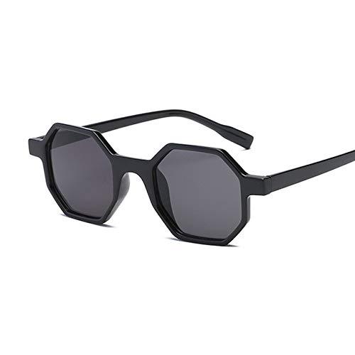 YJLC Mode achteckige quadratische Sonnenbrille Frauen Männer Brillen Sonnenbrille Spiegel Sonnenbrille weiblich,Black