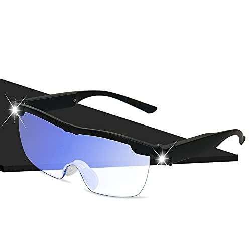 Lupenbrille mit 2 LED Licht, Wiederaufladbare Lupenbrille für Brillenträger, 250{b75cfb5f4927b7749f59f3412036f4e0732edebbc509bc448f09dc6d7c6216e7} Leselupe mit Seil zum Aufhängen, Fallschutzbox, Brillentasche, Hände Frei Lesebrille für Damen Herren Senioren