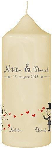 Livingstyle & Wanddesign Kerze zur Hochzeit mit eigenem Namen und Datum, (Motiv 19) Creme