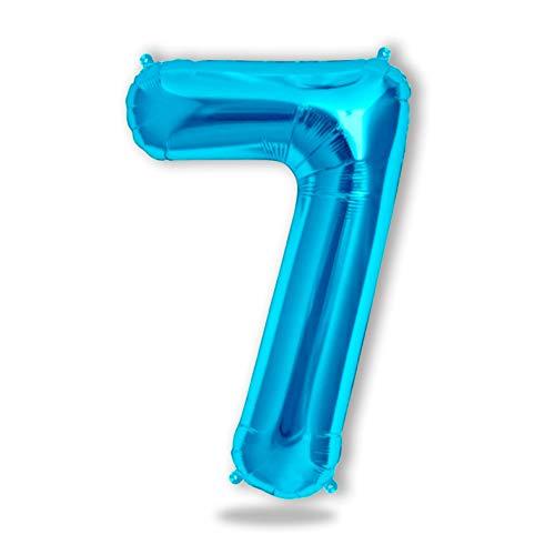 FUNXGO® Folienballon Zahl in Blau - XXL /ca.100cm Riesenzahl Ballon - Folienballons für Luft oder Helium als Geburtstag, Hochzeit , Jubiläum oder Abschluss Geschenk, Party Dekoration (Blau[7])
