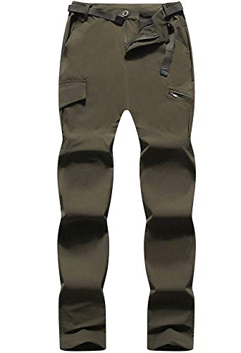 DAFENP Pantaloni da Lavoro Trekking Uomo Elastico Pantaloni Cargo Uomo Estivi Pantaloni Montagna Leggero Traspirante Asciugatura Rapida All aperto KZ611M-ArmyGreen-M