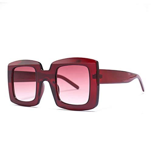 UKKO Gafas de sol Gafas De Sol Del Cuadrado Hombres Mujeres Maxi Gran Marco Negro Uv400 Leopardo,Rojo Red.Grad
