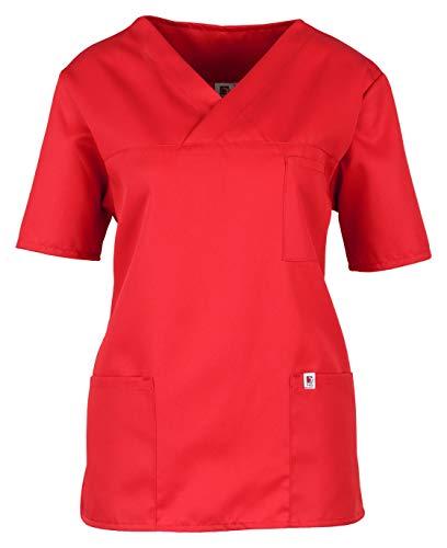 BEB Casaca unisex sostenible para mujer, casaca para hombre, bolsa de aseo, bolsa de aseo, multicolor, tencel para hospital, cuidados, cuidado de enfermería, tejido sanfor, fabricado en la UE rojo M