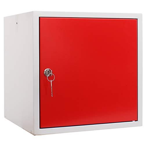 newpo armadietto con chiave | 35 x 35 x 35 cm | rosso | Guardaroba Deposito Cassetta Armadietto...