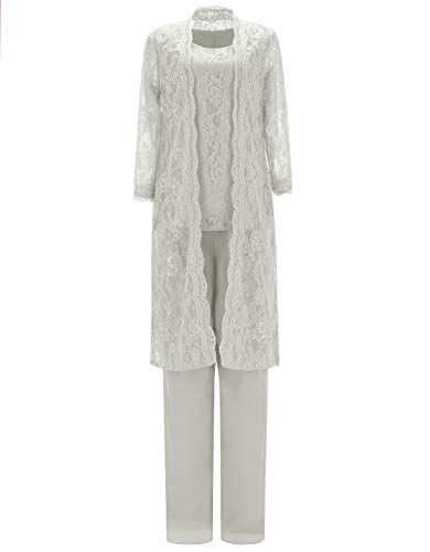 SOLOVEDRESS Traje de encaje de tres piezas para mujer de gasa vestido de madre de la novia pantalones trajes para boda - Beige - 44