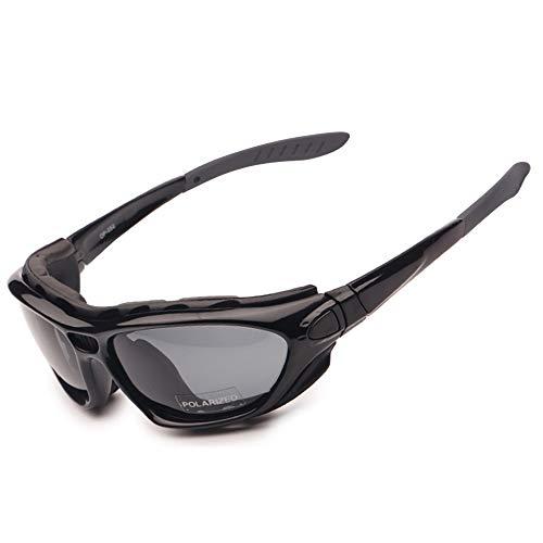 EnzoDate Gafas de la Motocicleta Polarized Clear Lenses Day Night, Gafas de Sol para el Casco Temples Intercambiables Correa (Versión polarizada)