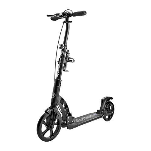 Monopattino HyperMotion per adulti, 2 ammortizzatori, freno a mano e a pedale, ruote larghe 23 cm e 20 cm, carico massimo 100 kg, manubrio regolabile, scooter pieghevole e antiscivolo Regamo