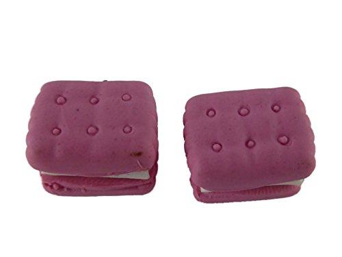 Ohrringe Stecker Ohrstecker handgemachter Keks Cookie Butterkeks gefüllt mit Creme rosa Erdbeere 5997