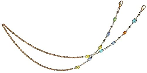 Cadena de Cristal de Color Ovalado, Cadena giratoria de Bola de Cristal, Cadena para Gafas, cordón, Correa Multiusos, Collar de Cuerdas para Mujer