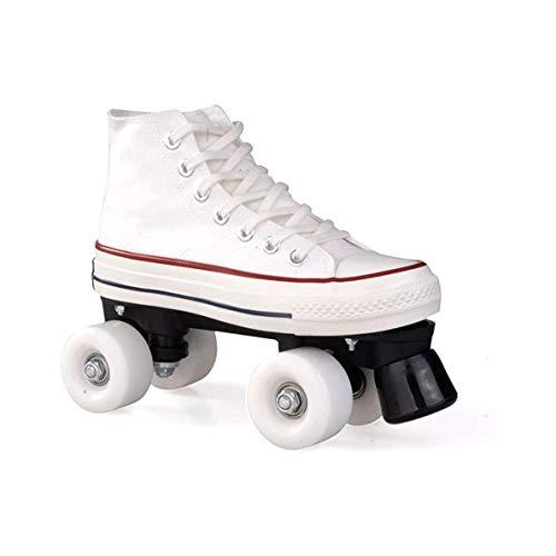 ZXSZX Patines De Lienzo Zapatos De Rodadura para Mujer Niña Scooter Quad Patines Cómodo Y Transpirable con Doble Rueda Zapatos De Lona Superior, Weiß-38