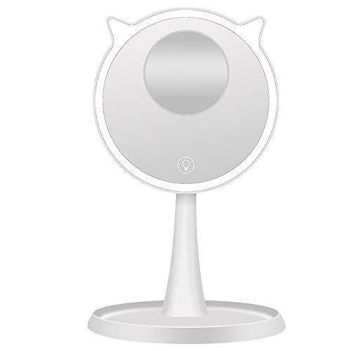 Miroir De Maquillage De Table,Miroir Maquillage Portable,LED Miroir De Maquillage Loupe 10 Fois 45 ° Réglable Chargement Rapide USB Interrupteur Tactile Intelligent Petit Et Pratique