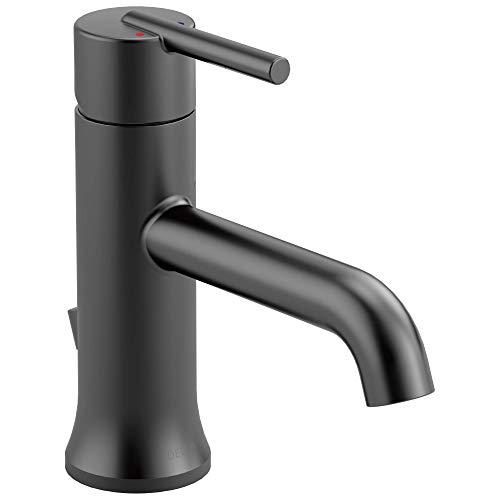 Delta Faucet Trinsic Matte Black Bathroom Faucet, Single Hole Bathroom Faucet, Single Handle Bathroom Faucet, Metal Drain Assembly, Matte Black 559LF-BLMPU