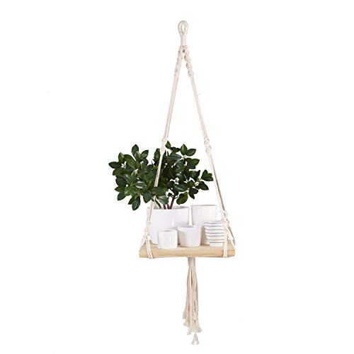Wooden Rope Hanging Floating Shelves Boho Style, Rustic Wood Hanging Shelf with 4 Hooks, Macrame Shelves for Bedroom, Bathroom, Living Room, and Kitchen. (not Include pots)