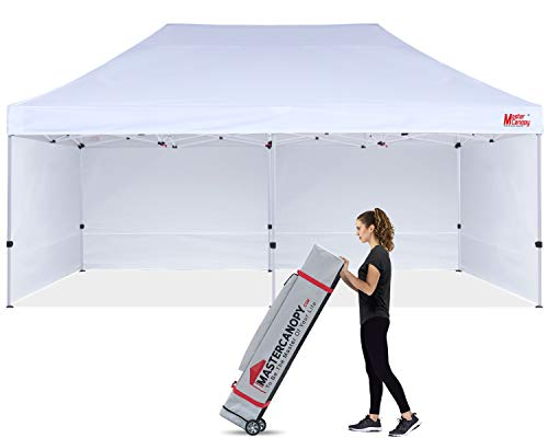 MASTERCANOPY Ez Pop-up Canopy Tent 10x20 Commercial Instant Canopies with 4 Removable Side Walls 2 Door Wall and Roller Bag, Bonus 6 SandBags(10x20ft,White)