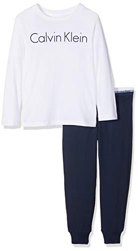 Calvin Klein Jungen Knit PJ Set (LS+Cuffed) Zweiteiliger Schlafanzug, Weiß (1White/1Blueshadow 118), 164 (Herstellergröße: 12-14)